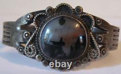 Vintage Navajo Indian Silver Petrified Wood Cuff Bracelet