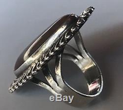 Vintage Navajo Indian Silver & Petrified Wood Cuff Bracelet & Ring Set
