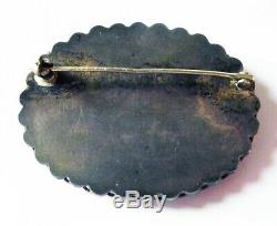 Vintage Navajo Indian Silver Petrified Wood Scenic Pin Landscape Brooch 1930s 40