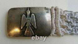 Vintage Navajo Indian Silver Peyote Bird Buckle On White Macrame Belt