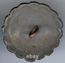 Vintage Navajo Indian Silver Scalloped Edges Button
