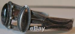 Vintage Navajo Indian Silver Scenic Agate Cuff Bracelet