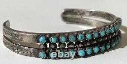 Vintage Navajo Indian Silver Snake Eye Turquoise Double Row Cuff Bracelet