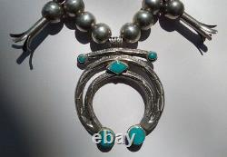 Vintage Navajo Indian Silver Squash Blossom Blue Gem Turquoise Naja Necklace