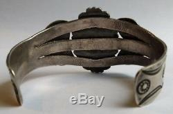 Vintage Navajo Indian Silver Stamped Arrows Green Turquoise Cuff Bracelet