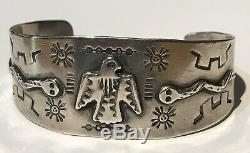 Vintage Navajo Indian Silver Thunderbird & Snakes Cuff Bracelet