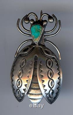 Vintage Navajo Indian Silver Turquoise 3d Lightning Bug Pin Brooch