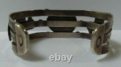 Vintage Navajo Indian Silver Turquoise Applied Thunderbird Cuff Bracelet