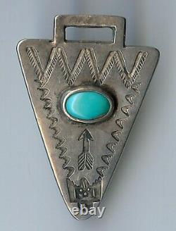 Vintage Navajo Indian Silver Turquoise Arrowhead Shape Watch Fob