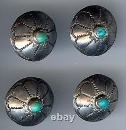 Vintage Navajo Indian Silver Turquoise Buttons Set Of Four