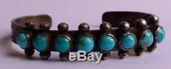 Vintage Navajo Indian Silver & Turquoise Cuff Row Bracelet
