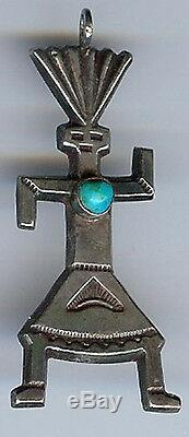 Vintage Navajo Indian Silver Turquoise Dancing Kachina Man Pendant