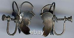 Vintage Navajo Indian Silver Turquoise Dimensional Butterfly Screwback Earrings