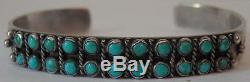 Vintage Navajo Indian Silver Turquoise Double Snake Eye Row Bracelet