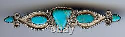 Vintage Navajo Indian Silver Turquoise Fancy Bar Pin Brooch