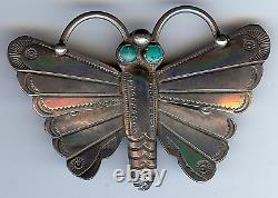 Vintage Navajo Indian Silver & Turquoise Intricate Stampwork Butterfly Pin