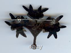 Vintage Navajo Indian Silver Turquoise Leafy Branch Pin Brooch