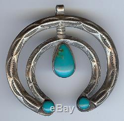 Vintage Navajo Indian Silver & Turquoise Naja Pendant
