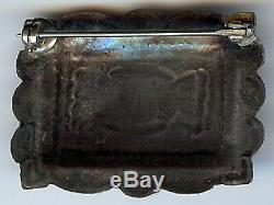 Vintage Navajo Indian Silver & Turquoise Rectangle Stampwork Pin Brooch