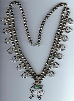 Vintage Navajo Indian Silver Turquoise Squash Blossom Najas Necklace