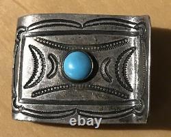 Vintage Navajo Indian Silver & Turquoise Stampwork Money Clip
