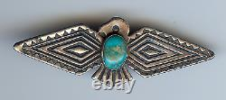 Vintage Navajo Indian Silver & Turquoise Thunderbird Pin Brooch