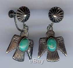 Vintage Navajo Indian Silver Turquoise Thunderbird Whirling Log Dangle Earrings