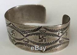 Vintage Navajo Indian Silver Whirling Logs Cuff Bracelet