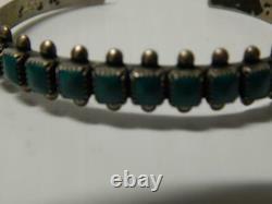 Vintage Navajo Indian Square Stones Row Bracelet Sterling Silver Fred Harvey