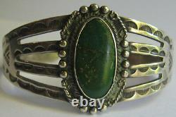 Vintage Navajo Indian Stamped Designs Silver Green Turquoise Cuff Bracelet