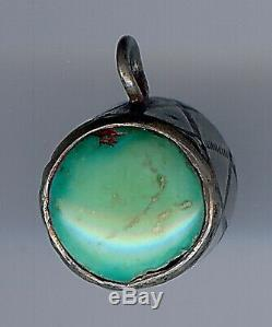 Vintage Navajo Indian Stamped Silver & Turquoise 3d Drum Charm