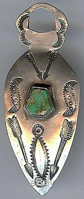 Vintage Navajo Indian Stamped Silver & Turquoise Fob