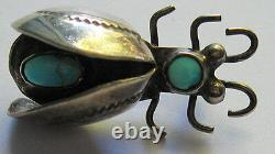 Vintage Navajo Indian Stamped Wings Silver & Turquoise 3d Flying Bug Pin Brooch