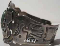 Vintage Navajo Indian Sterling Green Turquoise Snakes Thunderbird Cuff Bracelet
