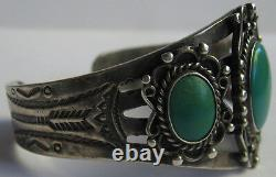 Vintage Navajo Indian Sterling Silver Green Teal Turquoise Cuff Bracelet