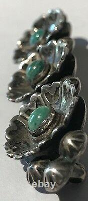 Vintage Navajo Indian Sterling Silver & Green Turquoise Flowers Bar Pin Brooch