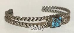 Vintage Navajo Indian Sterling Silver Spiderweb Turquoise Cuff Bracelet