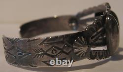 Vintage Navajo Indian Sterling Silver Stamped Arrows Cuff Bracelet