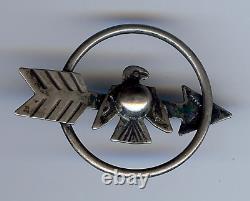 Vintage Navajo Indian Sterling Silver Thunderbird Arrow Pin Brooch