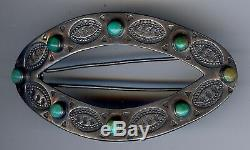 Vintage Navajo Indian Sterling Silver & Turquoise Barrette Hair Clip