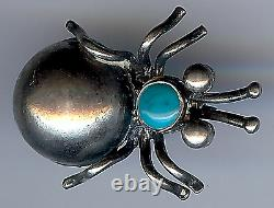 Vintage Navajo Indian Sterling Silver Turquoise Bug Pin Brooch