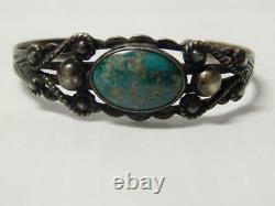 Vintage Navajo Indian Sterling Silver Turquoise Fred Harvey Bracelet Nice Gift