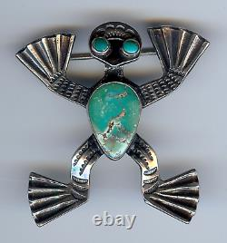 Vintage Navajo Indian Sterling Silver & Turquoise Frog Pin Brooch