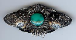 Vintage Navajo Indian Sterling Silver & Turquoise Thunderbird Pin Brooch