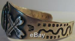 Vintage Navajo Indian Sterling Snakes & Arrows Green Turquoise Cuff Bracelet