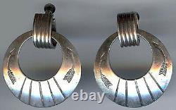 Vintage Navajo Indian Sterling Stamped Arrows Hoops Dangle Screwback Earrings