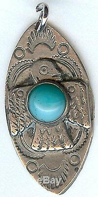 Vintage Navajo Indian Turquoise Hubbell Glass Silver Thunderbird Fob Or Pendant