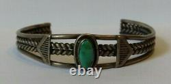 Vintage Navajo Indian Twisted Wire Silver Green Turquoise Cuff Bracelet