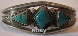 Vintage Navajo Indian Twisted Wire Silver Triangle Turquoise Bracelet