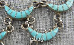 Vintage Navajo Inlaid Turquoise & Sterling Cascading Link Necklace